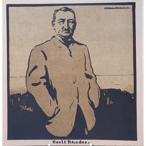 29 - William Nicholson, Cecil Rhodes print, The Archbishop of Canterbury print, 28 x 26 cm, and two pages...
