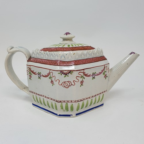35 - A 19th century New Hall style teapot, 15 cm high, and three other teapots (4)