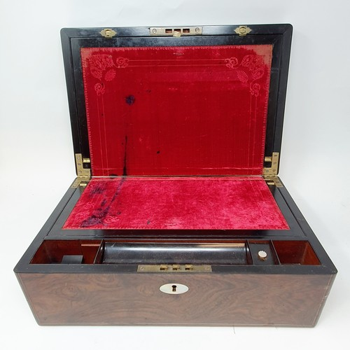 39 - A 19th century rosewood writing box, 38 cm wide