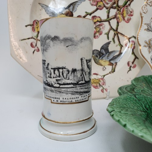 51 - A 19th century lustreware jug, decorated a river scene, 7 cm high, and various other 19th century an...