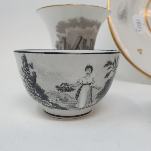 54 - A 19th century bat transfer printed bowl, decorated a lady playing a spinet, and various other simil...