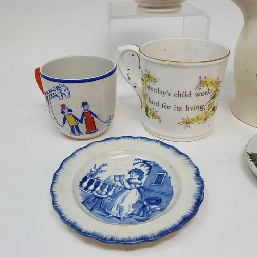 61 - A 19th century comical jug, Courtship, 12 cm high, restored, a novelty mug, Saturday's child works h...