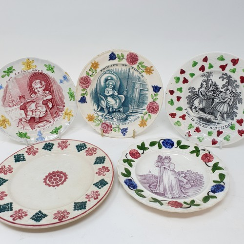 65 - A 19th century nursery plate, Frolics of Youth, 14 cm diameter, and four other nursery plates (5)