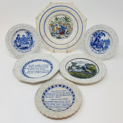 66 - A 19th century nursery plate, Robinson Crusoe Milking, 18 cm diameter, and five other nursery plates...