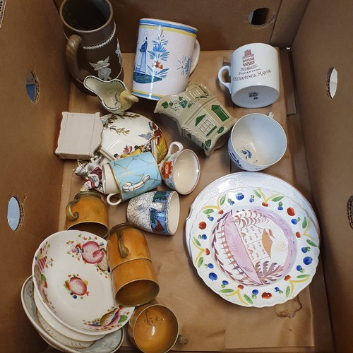 76 - A pair of Royal Doulton seriesware plates, and various other 19th century and later ceramics (box)