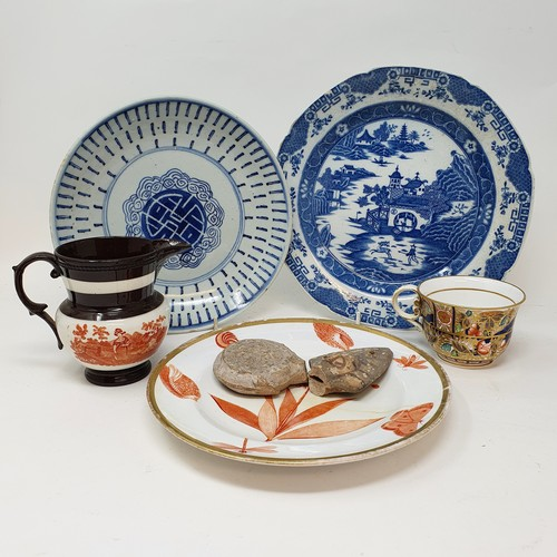78 - A 19th century blue and white plate, 24 cm diameter, and various other 19th century and later cerami...