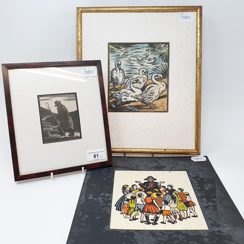 81 - A 20th century print of a shepherd, 9 x 7 cm, a bevy of swans, print, initialed E. K. S. P., 16 x 30...