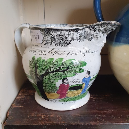 91 - A 19th century jug, A Morning Gallop, 13 cm high, and eleven other jugs (12)