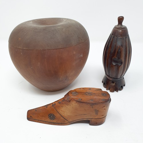 201 - A fruitwood tea caddy, in the form of an apple, 13 cm diameter, and two snuff boxes (3)