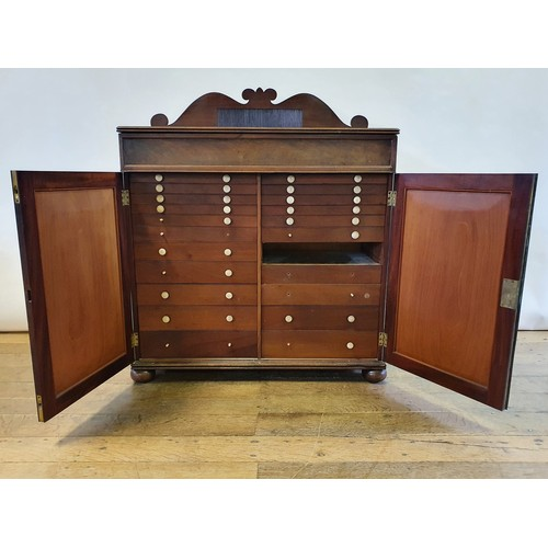 238 - A 19th century mahogany specimen cabinet, with raised back, frieze drawer, above two cupboard doors,...
