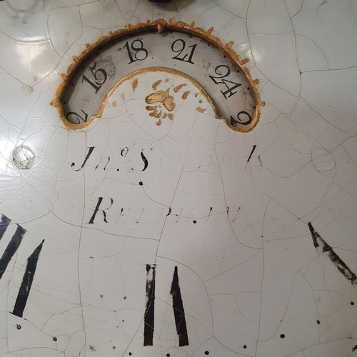 242 - A longcase clock, the painted dial decorated a bird, with subsidiary date aperture, fitted a 30 hour...