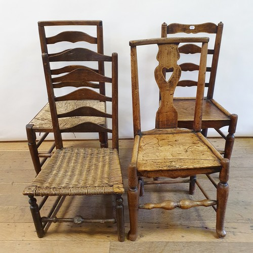 255 - A 19th century oak single chair, with a pierced splat back, and three ladder back chairs (4)
