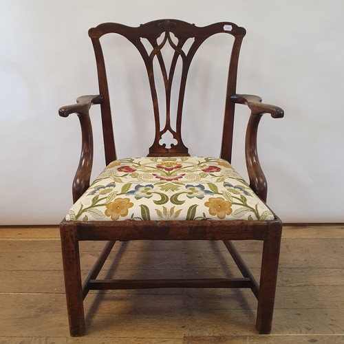 263 - A 19th century mahogany Chippendale style armchair, with a pierced splat back, drop in seat, and on ...