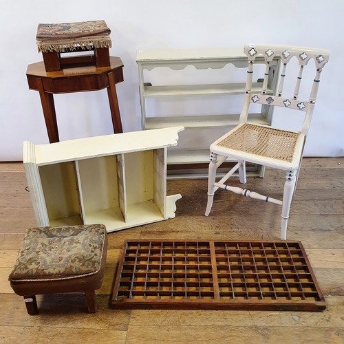 285 - A 19th century mahogany work table, a painted chair, two stools, and three shelves (7)