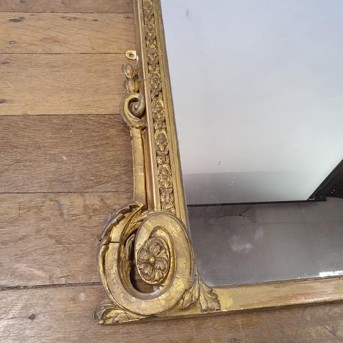 118 - A gilt gesso overmantle mirror, 134 x 110 cm