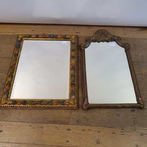 125 - A gilt and polychrome gesso wall mirror, 65 x 50 cm, and another mirror, 70 x 40 cm (2)