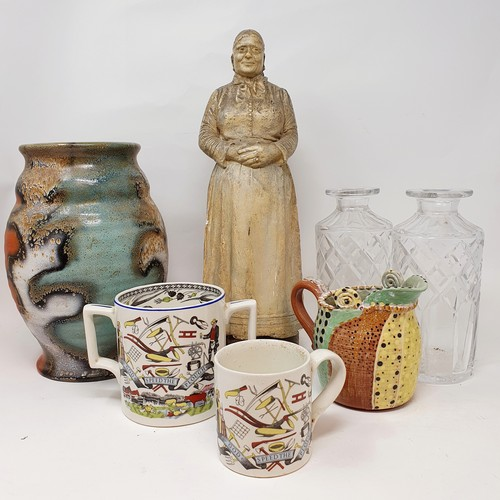 144 - A plaster figure of an old lady, and various other ceramic (4 boxes)