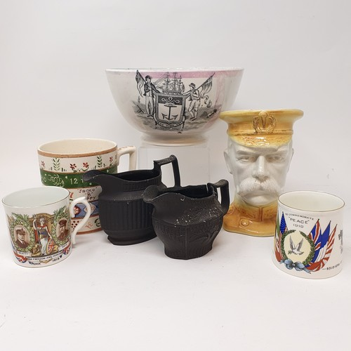 139 - An early 20th century character jug of Kitchener, and various other 19th century and later ceramics ...