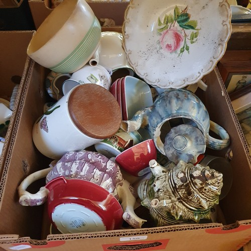 150 - A Continental tureen, decorated with market scene, and various other decorative ceramics (2 boxes)