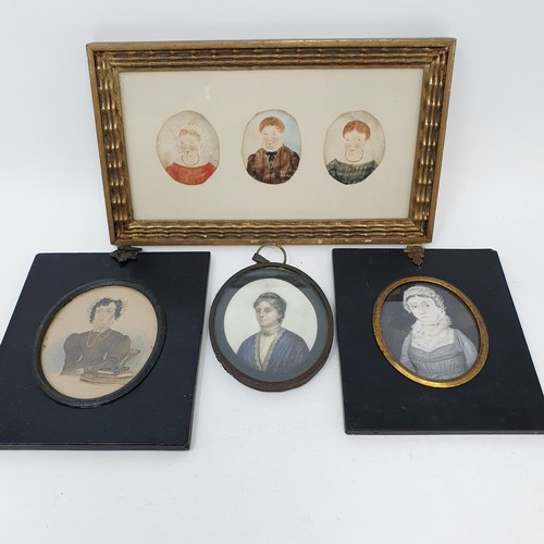 208 - A 19th century portrait miniature of a woman, 8 x 6 cm, three portrait miniatures of children, later...