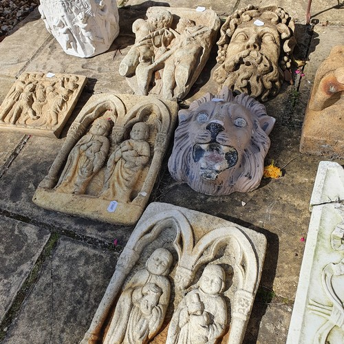 3 - A composite stone garden wall mask, in the form of a lion, and various other items (qty)