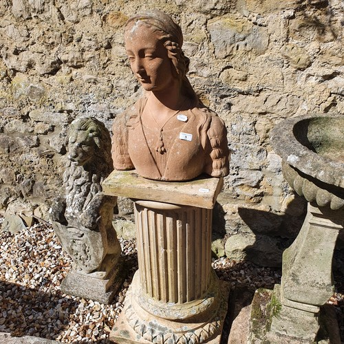 5 - A composite stone bust of a young woman, 51 cm high, and a composite stone pedestal in the form of a...