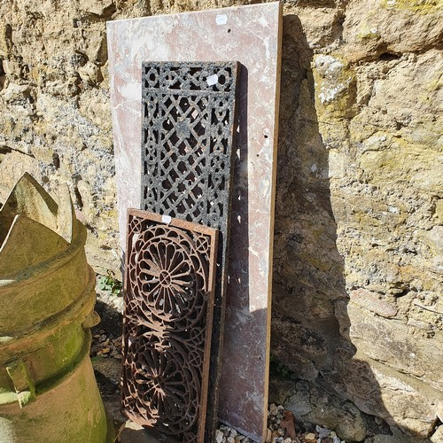 11 - A pair of composite stone garden plinths, 35 cm wide, two marble tops, and two cast metal grates (6)