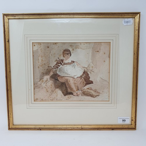 99 - English school, 19th century, a study of a girl holding branches, watercolour, signature indistinct,...