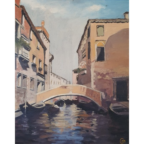 121 - Continental school, 20th century, Venice scene, oil on board, initialed C. M., 50 x 39 cm