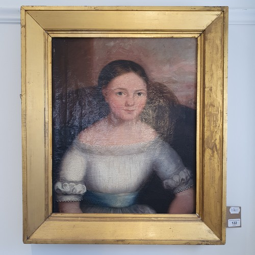 122 - English School, 19th century, a portrait of a young girl, oil on canvas, 48 x 39 cm