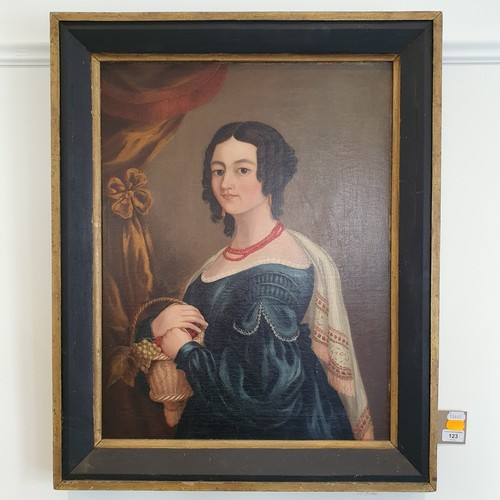 123 - English School, early 19th century, a portrait of a lady with a coral necklace and a blue dress, oil...