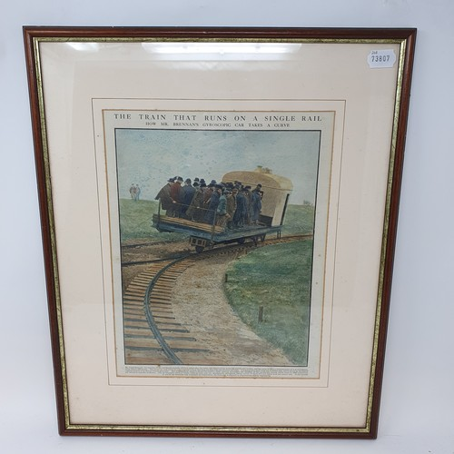 138 - The Train That Runs on a Single Rail, print, 34 x 26 cm, and various other pictures and prints (qty)