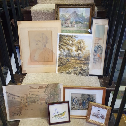 141 - A 19th century cartoon, War, and various other pictures and prints (box)