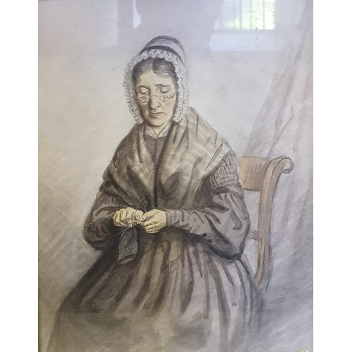 149 - English school, 20th century, portrait of a woman knitting, watercolour, 24 x 19 cm, and various oth...