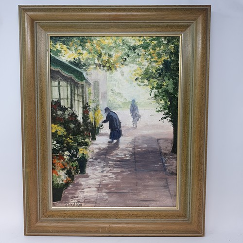 154 - Stratton, figure outside a flower shop, oil on canvas, signed, 40 x 29 cm, and various other picture...