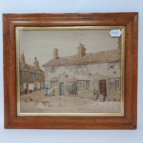 157 - C Highet, a landscape with figure and cattle, watercolour, signed, 17 x 25 cm, Tolpuddle in Dorset, ...
