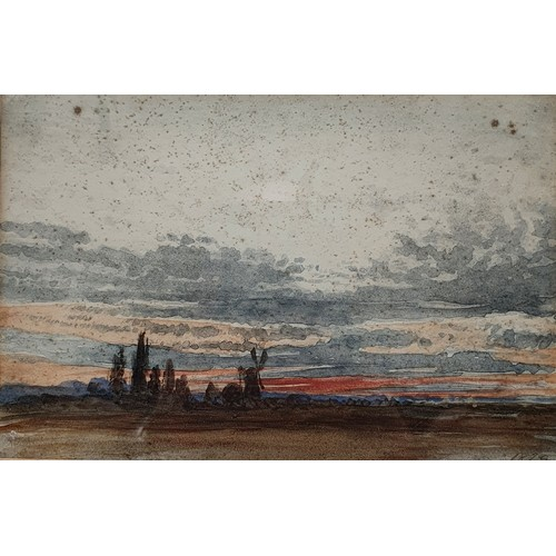 162 - English school, 19th century, a landscape with cattle, watercolour, 12 x 18 cm, a landscape, with a ...