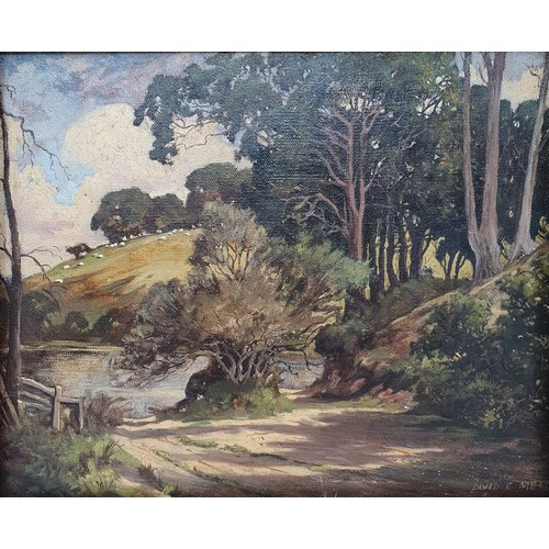 167 - David Mead (British 1906-1986), a landscape, oil on canvas, signed, 24 x 29 cm, an English school, s...