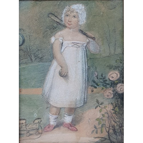 168 - English school, early 20th century, study of a young girl holding a bat, pastel, 16 x 12 cm, study o...