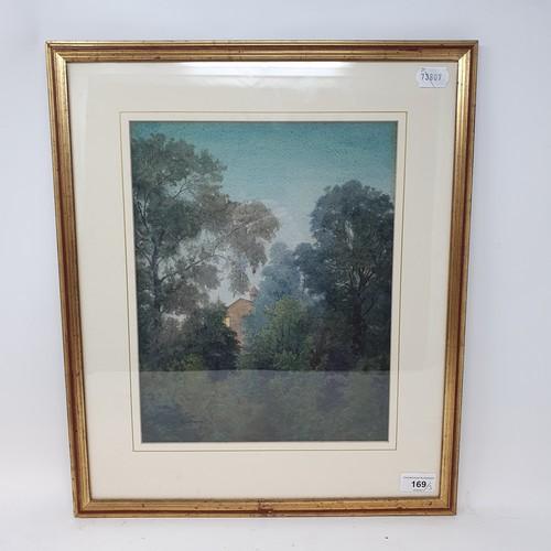 169 - English school, 20th century, a landscape with farm buildings, 24 x 35 cm, a landscape, watercolour,...