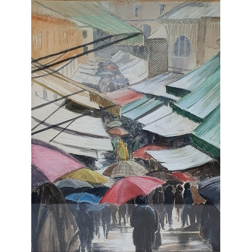 171 - Stratton, a street scene with figures, pastel, signed, 41 x 29 cm, and a market scene, pastel, 34 x ...