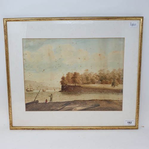 182 - English school, 19th century, near Edgecombe, watercolour, signature indistinct, 26 x 36 cm