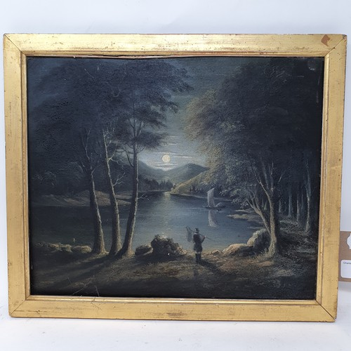 186 - Manner of Abraham Pether, a nocturnal scene with figure, oil on canvas, 28 x 23 cm