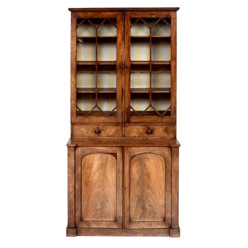 224 - A 19th century mahogany bookcase cabinet, the top with two astragal glazed doors, above two drawers,...