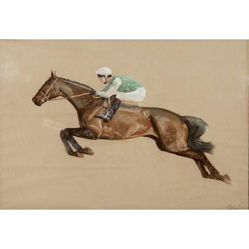 188 - Edwine Simes, study of a race horse, pastel, signed, 43 x 61 cm
