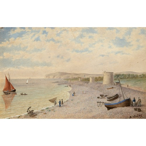 179 - W L Wing, four Martello towers, on a coastline, possibly Eastborne, watercolour, signed, 21 x 33 cm