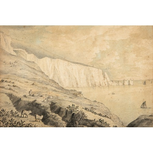 181 - English school, 19th century, the Needles from Allum Bay, watercolour, title inscribed verso, indist...