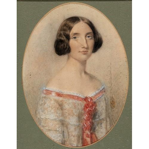 43 - English school, 19th century, a portrait of a lady, watercolour, 19 x 13 cm