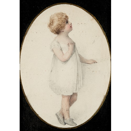 46 - English school, 19th century, a portrait of a girl, watercolour, oval, 12 x 9 cm