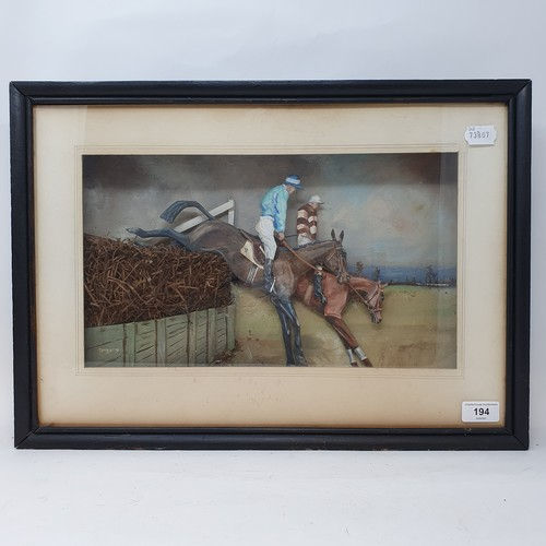 194 - Tom Deeks, a diorama, two racehorses clearing a jump, mixed media, signed, 22 x 38 cm